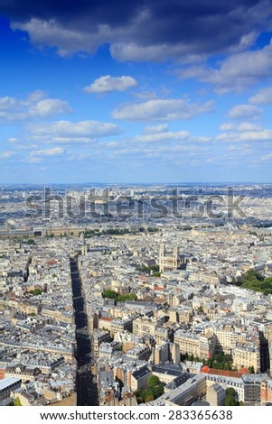 Paris, France - aerial city view with Saint Sulpice church. UNESCO World Heritage Site. - stock photo