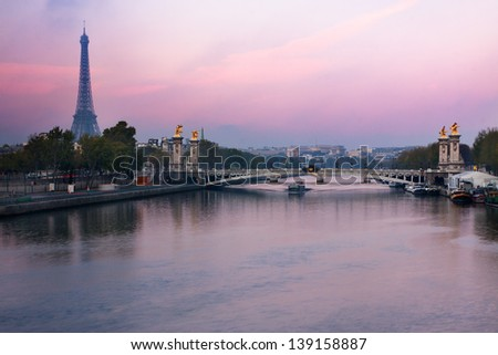 Paris, France - Alexandre III  bridge and Eiffel Tower at sunrise