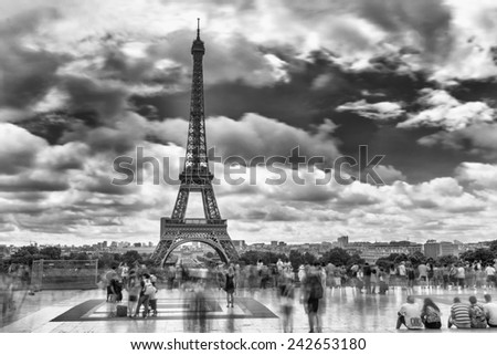Paris, France. Amazing Eiffel Tower black and white view from Trocadero, long exposure. - stock photo