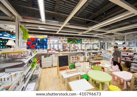 Merveilleux PARIS, FRANCE   APR 12, 2016: Woman Choosing Kids Furniture In IKEA Shoping