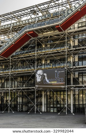 PARIS, FRANCE - APRIL 24, 2015: Centre Georges Pompidou (1977) was designed in style of high-tech architecture. It houses library, National Art Modern museum and IRCAM.