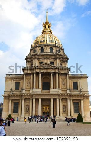 PARIS, FRANCE -APRIL 30:Chapel of Saint Louis des Invalides on APRIL 30, 2011 in Paris. Chapel built in 1679 is the burial site for some of France's war heroes, notably Napoleon Bonaparte.  - stock photo
