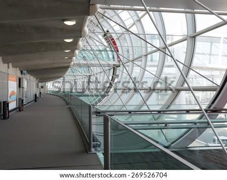 PARIS, FRANCE - APRIL 5, 2015: Charles de Gaulle airport, the France's largest airport. In 2013, the airport handled 62,052,917 passengers and 497,763 aircraft movements. - stock photo