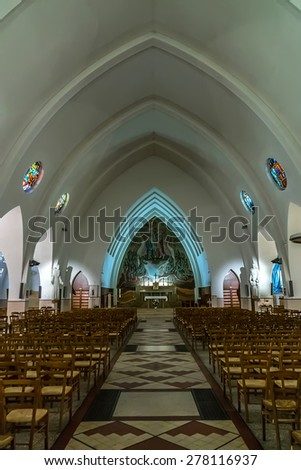 PARIS, FRANCE - APRIL 25, 2015: Interior of Catholic Church of St. Anthony of Padua (Saint-Antoine-de-Padoue, 1933 - 1935), is located boulevard Lefebvre in Paris.
