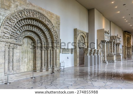 PARIS, FRANCE - APRIL 24, 2015: Interior of Cite de l'Architecture et du Patrimoine (museum of architecture). Palais de Chaillot at 1, Place du Trocadero.