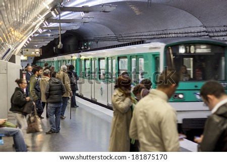 PARIS, FRANCE -  APRIL 27:Paris Metro station (Mirabeau) on april 27, 2013 in Paris. Paris Metro is the 2nd largest underground system worldwide by number of stations (300). - stock photo