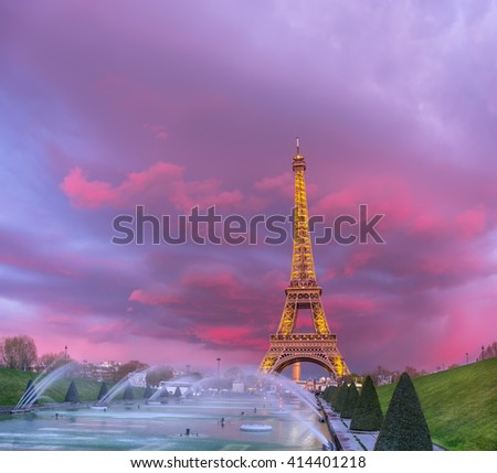 PARIS, FRANCE - APRIL 21 2016: The Eiffel tower on a sunset. The Eiffel tower is a famous monument located on the bank of the Seine river in Paris, France. - stock photo