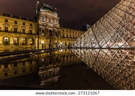 PARIS, FRANCE - APRIL 25, 2015: The Louvre Pyramid at night reflecting in its surrounding pond.
