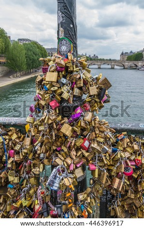 Paris France 21 April 2014 The Pont Des Artes bridge across the River Seine was used by lovers applying padlocks to the structure to symbolize their love