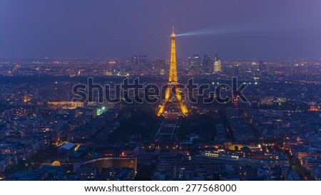 PARIS, FRANCE April 24, 2015: View over Paris from the Montparnasse Tower at night