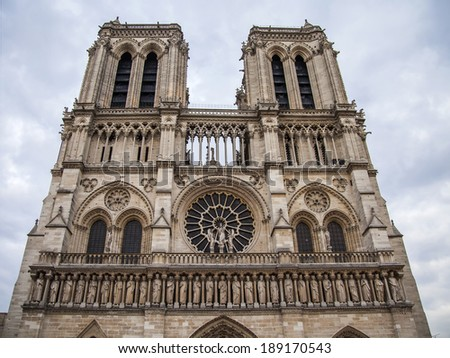 Paris, France. Architectural detail of Notre Dame Cathedral