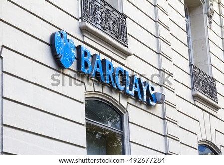 PARIS, FRANCE : AUG 6, 2016 - Sign and logo above the entrance to a branch of Barclays Bank in Paris France