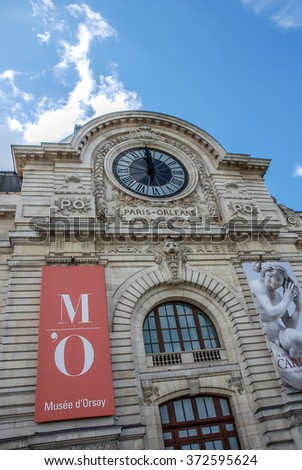 PARIS, FRANCE- AUGUST 18, 2014; D'orsay is a museum in Paris, France, on the left bank of the Seine. It is housed in the former Gare d'Orsay, a Beaux-Arts railway station built between 1898 and 1900.  - stock photo