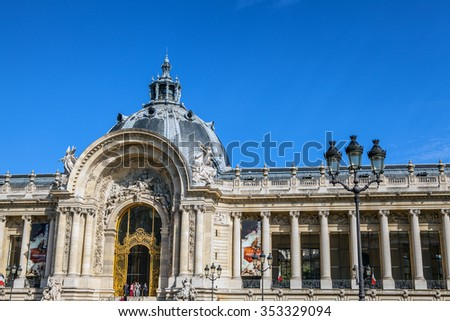 PARIS, FRANCE - AUGUST 30, 2015: Famous Grand Palais (Big Palace) in Paris.