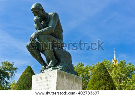 Paris,  France - August 31, 2011:  'Le Penseur' sculptures of August Rodi in the Rodin Museum garden.