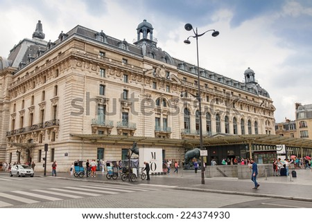 PARIS, FRANCE - AUGUST 07, 2014: Main entrance to the Orsay modern art Museum in Paris, France