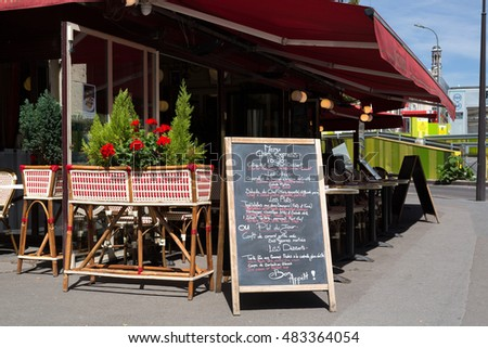 Paris, France : August 13, 2016 - Menu board outside a french restaurant in the marais district of paris france