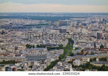 PARIS, FRANCE -15 AUGUST 2015- Panoramic view of the skyline of Paris, the French capital, in the summer haze.