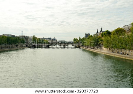 PARIS, FRANCE - AUGUST 09, 2015: Seine river. Paris, aka City of Love, is a popular travel destination and a major city in Europe