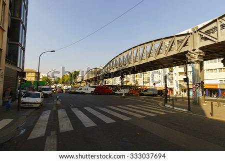 PARIS, FRANCE - AUGUST 10, 2015: streets of Paris. Paris is the capital and most-populous city of France. Situated on the Seine River, in the north of the country