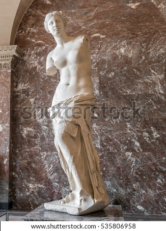 PARIS, FRANCE - AUGUST 28 2013 The Venus de Milo statue at the Louvre Museum in Paris