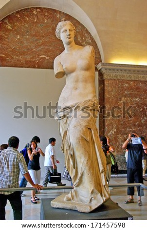 PARIS, FRANCE - August 3: Venus of Milo statue on August 3, 2008 in Paris, France - stock photo