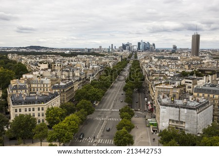 Paris, France - August 17: View of the Chaps-Elysees Avenue from the Arc de Triomphe in Paris, France on August 17, 2014.