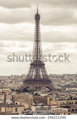 Paris, France - August 20: View of the Eiffel Tower in Paris, France on August 20, 2014. The tower was named after the engineer Gustave Eiffel, whose company designed and built the structure. - stock photo