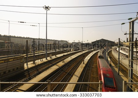 PARIS, FRANCE - AUGUST 10, 2015: view on railroad in Paris. Paris is the capital and most-populous city of France. Situated on the Seine River, in the north of the country