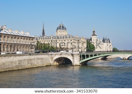 Paris, France. Beautiful quay of the island Cite