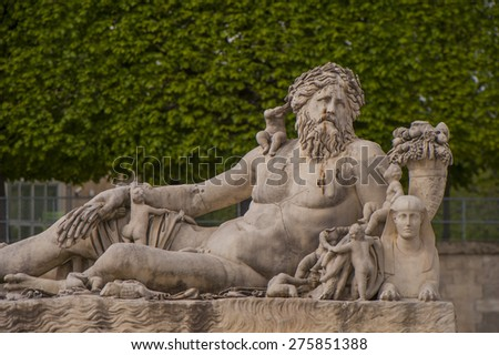 PARIS,FRANCE-CIRCA APRIL 2015: A statue in Tuileries Gardens