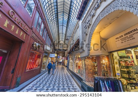 PARIS,FRANCE-CIRCA APRIL 2015: in the shopping passage
