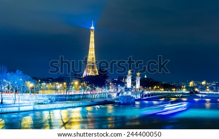 PARIS, FRANCE - CIRCA JAN 2015: The famous city of Paris at night in France. - stock photo