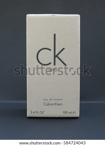 PARIS, FRANCE - CIRCA JUNE 2016: Calvin Klein One unisex eau de toilette,one of the evergreen bestselling perfumes worldwide