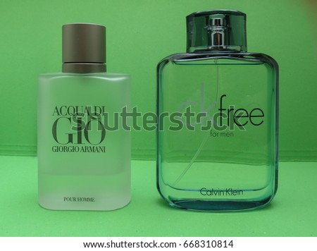 PARIS, FRANCE - CIRCA MAY 2017: Armani Acqua di Gio, Calvin Klein free for men eau de toilette, evergreen bestselling perfumes worldwide