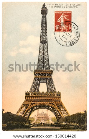PARIS, FRANCE - CIRCA 1914: vintage postcard with Eiffel Tower (La Tour Eiffel) in Paris, France, circa 1914 - stock photo