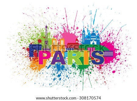 Paris France City Skyline Outline Silhouette Paint Splatter Abstract Colorful Text Isolated on White Background Panorama Raster Illustration - stock photo