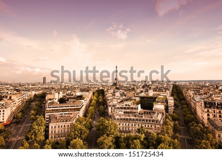 Paris, France - cityscape with Eiffel Tower in the light of sunset. UNESCO World Heritage Site.