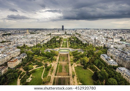 Paris, France - cityscape with Field of Mars gardens and Montparnasse skyscraper. UNESCO World Heritage Site. - stock photo