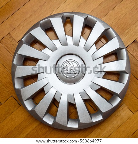 paris france dec 18 modern hubcap hub cover for the winter