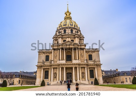 PARIS, FRANCE - DECEMBER 30: Chapel of Saint Louis des Invalides on December 30, 2013 in Paris. Chapel built in 1679 is the burial site for some of France's war heroes, notably Napoleon Bonaparte. - stock photo