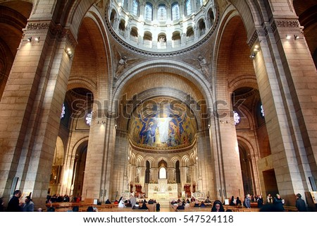 PARIS â?? FRANCE: DECEMBER 26, 2016. Domes, columns and vaults inside the basilica of the Sacre Coeur of Montmartre in Paris.