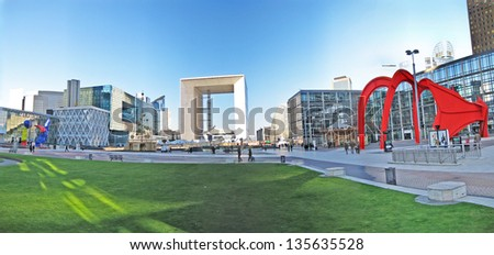PARIS, France - DECEMBER 26: Grand Arch at the business district La Defense, in the western part of Paris on December 26, 2008. La Defense welcomes 8.4 million visitors each year. - stock photo