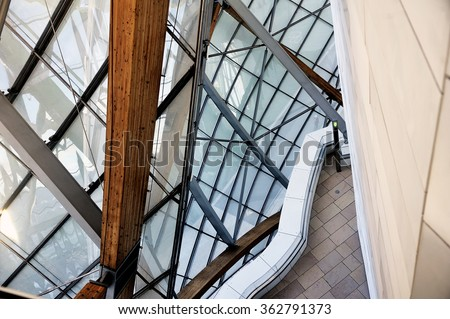 PARIS, FRANCE - DECEMBER 29: Museum of Contemporary Art of the Louis Vuitton Foundation created by the American architect Frank Gehry, the building is located Porte Maillot, December 29, 2015.