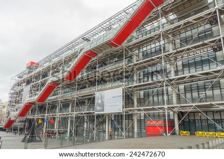 Paris, France - December 19, 2014: National Center of Art and Culture Georges Pompidou. One of the famous and most visited tourist attractions in Paris.