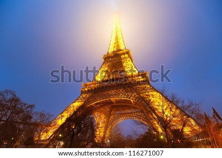 PARIS, FRANCE - DECEMBER 26: Start of of the Eiffel tower Light Show on December 26, 2011 in Paris, France. The Eiffel tower is the most visited monument in France.