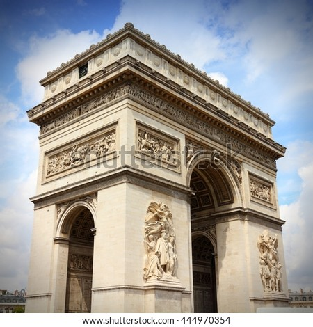 Paris, France - famous Triumphal Arch located at the end of Champs-Elysees street. UNESCO World Heritage Site. - stock photo