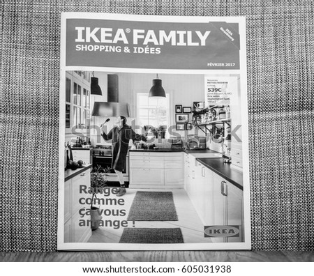 PARIS, FRANCE   FEB 9, 2017: Black And White Of Ikea Shopping And