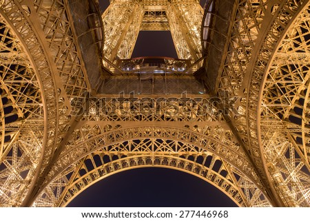 PARIS, FRANCE - FEB 14, 2015: The Eiffel Tower is one of the world's most famous landmark. It is also one of the most visited place in Paris, France. - stock photo