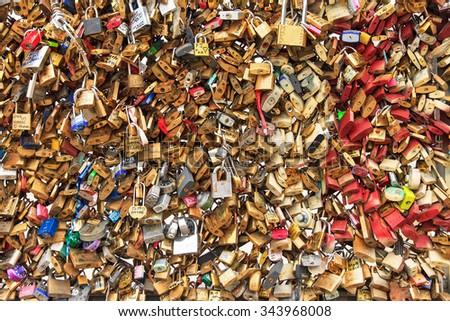PARIS, FRANCE - FEBRUARY, 18: Close up of the padlocks on the Pont de l'Archeveche (Archbishop's Bridge) in Paris, France, on February 18, 2014 - stock photo
